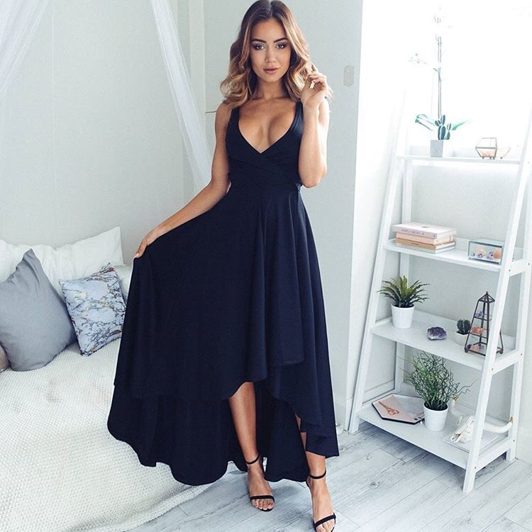Prom Dress Under 100 Navy Blue High Low Long Chiffon Prom Dress On