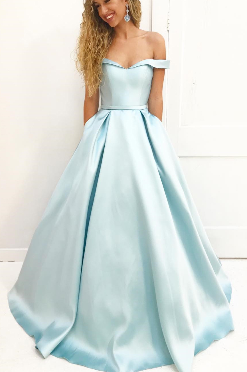929f259bd45 Elegant Light Blue Off Shoulder Long Prom Dress With Pockets, Simple Long  Evening Gowns