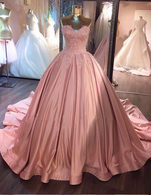 6fcabce0a0e Pink Sweetheart Lace Long Ball Gowns Prom Dresses