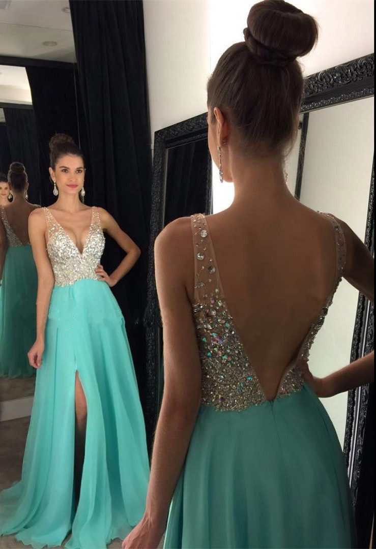 Sparkly Crystal Beaded V Neck Open Back Long Chiffon Prom Dresses 2019 d048c270d