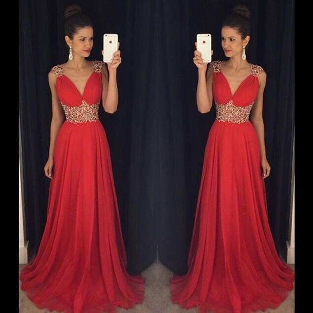 Sparkle Evening Gown,Sexy Prom Dress,Red