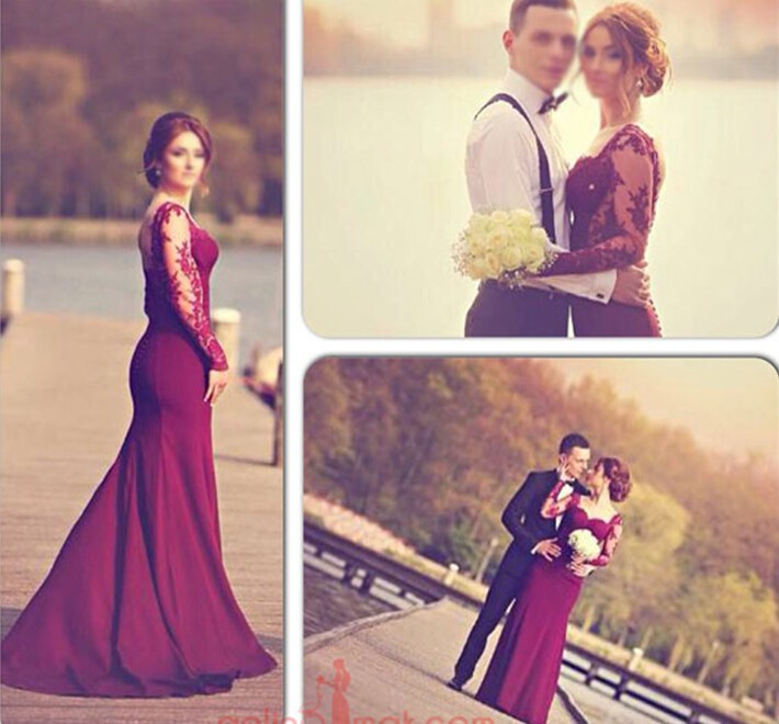 4631ef23df81 Mermaid Prom Dress,Sexy Long Sleeves Prom Dress, lace Appliques Prom Dress