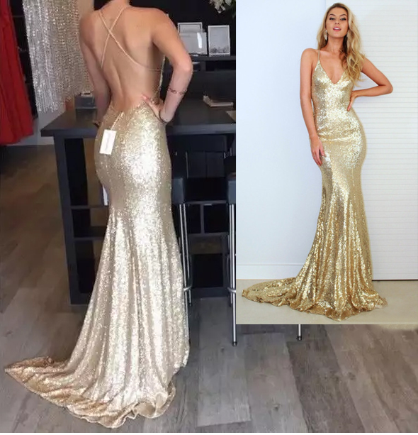 d589318a V Neck Spaghetti Straps Gold Sequin Floor Length Sexy Mermaid Formal  Occasion Dress Prom Dress Evening Dress