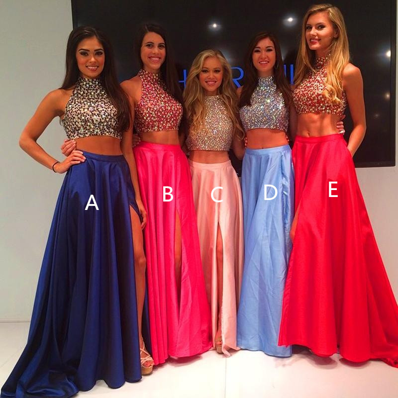 ca62cf764e24 2 Piece Prom Gown,Two Piece Prom Dresses,Satin Prom Dresses,New Style
