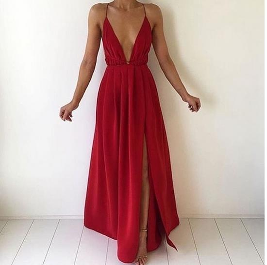 Simple Red A-Line V-neck Long Prom Dress bf21a231d