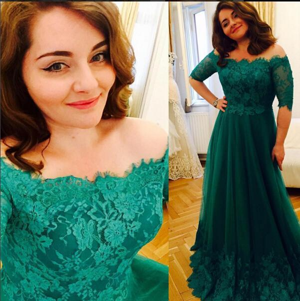 f3a22395ce7e2 Princess Green 2019 Lace Prom Dresses Short Sleeve A Line Tulle Prom Gowns  Vintage Plus Size Evening Formal Dress