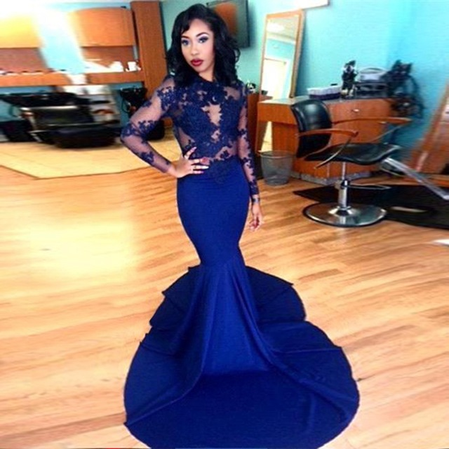 de17641e593 Long Sleeve Prom Dresses 2019 Gorgeous O-neck Top Lace Floor Length Satin  Mermaid Royal Blue Prom Dress