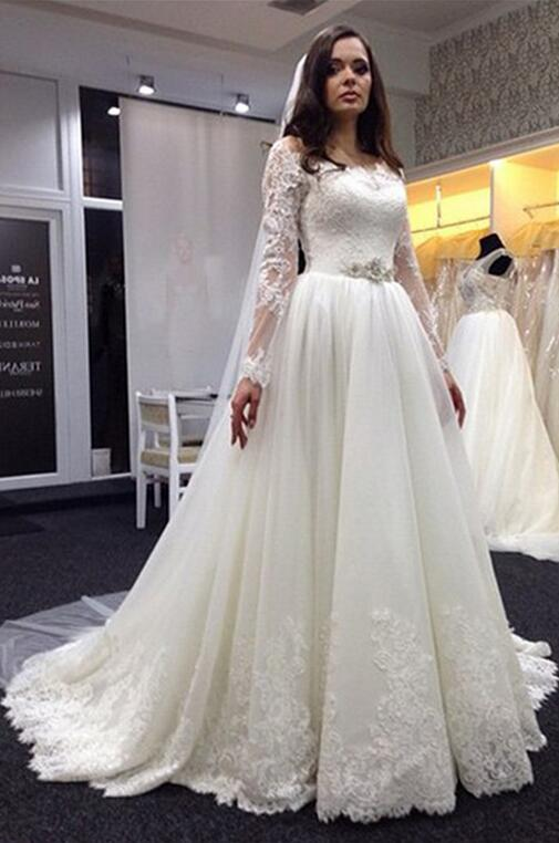 Lace Wedding Dress, Plus Size Wedding Dresses, Long Sleeve Wedding Dress