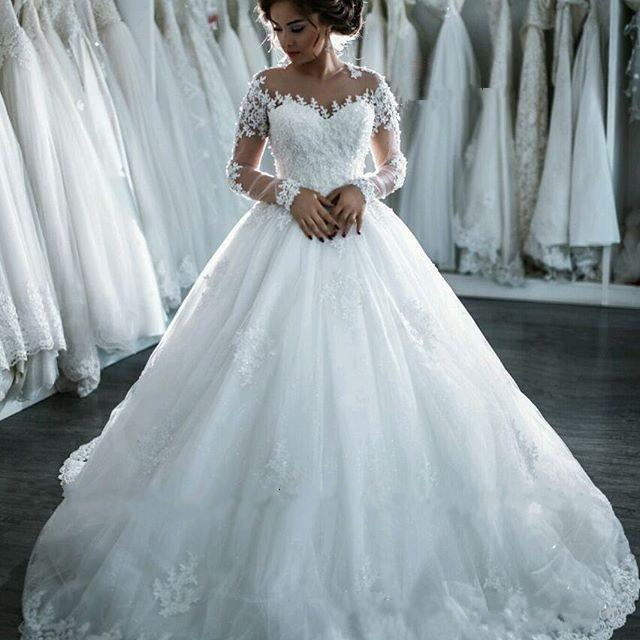 2f7bdb66f1b Sheer Lace Appliqués Ball Gown Wedding Dress With Long Sleeves on Luulla